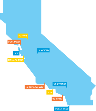 map of California with UC campus locations